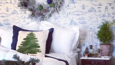 Blue Toile Room Daniel Webster Estate at Christmas